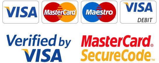 We accept payment using Visa, Mastercard, Maestro, Visa Debit, Verified by Visa, and MasterCard SecureCode.